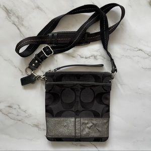 Coach fabric monogram black crossbody bag